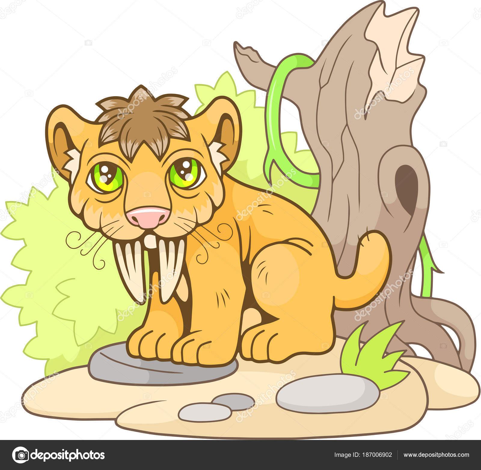 lindo tigre dientes de sable, Ilustración divertida — Archivo ...