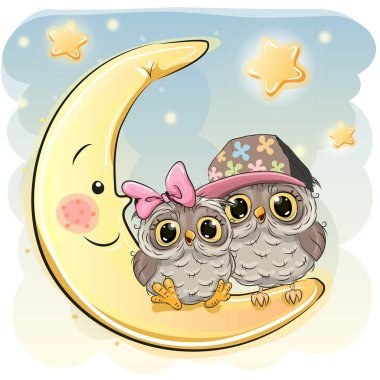 Two Cute Owls on the moon