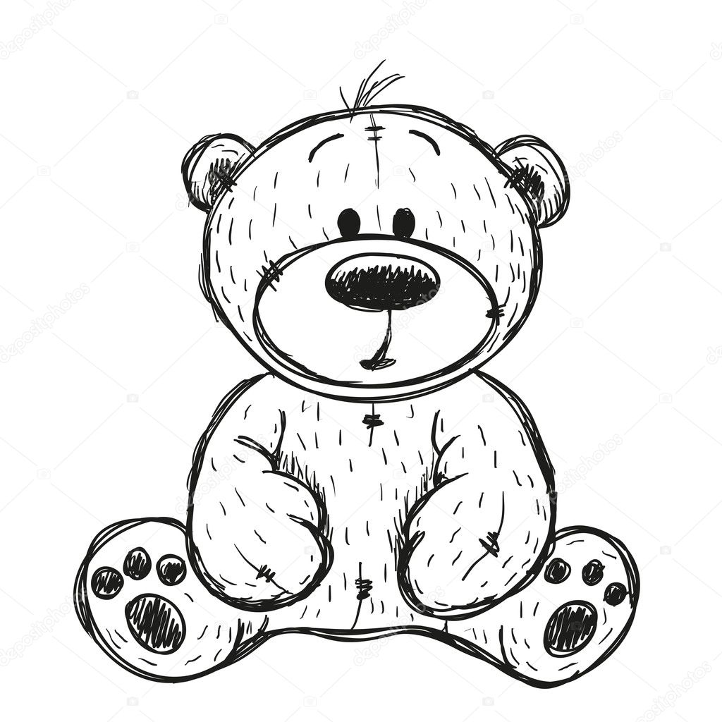 Line Drawing Your Photo : Drawing teddy bear — stock vector reginast