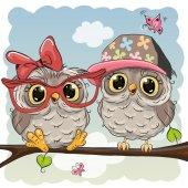 Fotografie Two cute Cartoon Owls