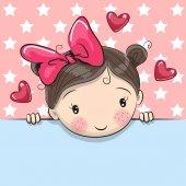 Blahopřání roztomilá kreslená dívka s Transparent