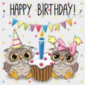 Fotografia Cartolina dauguri due cute Cartoon Owl