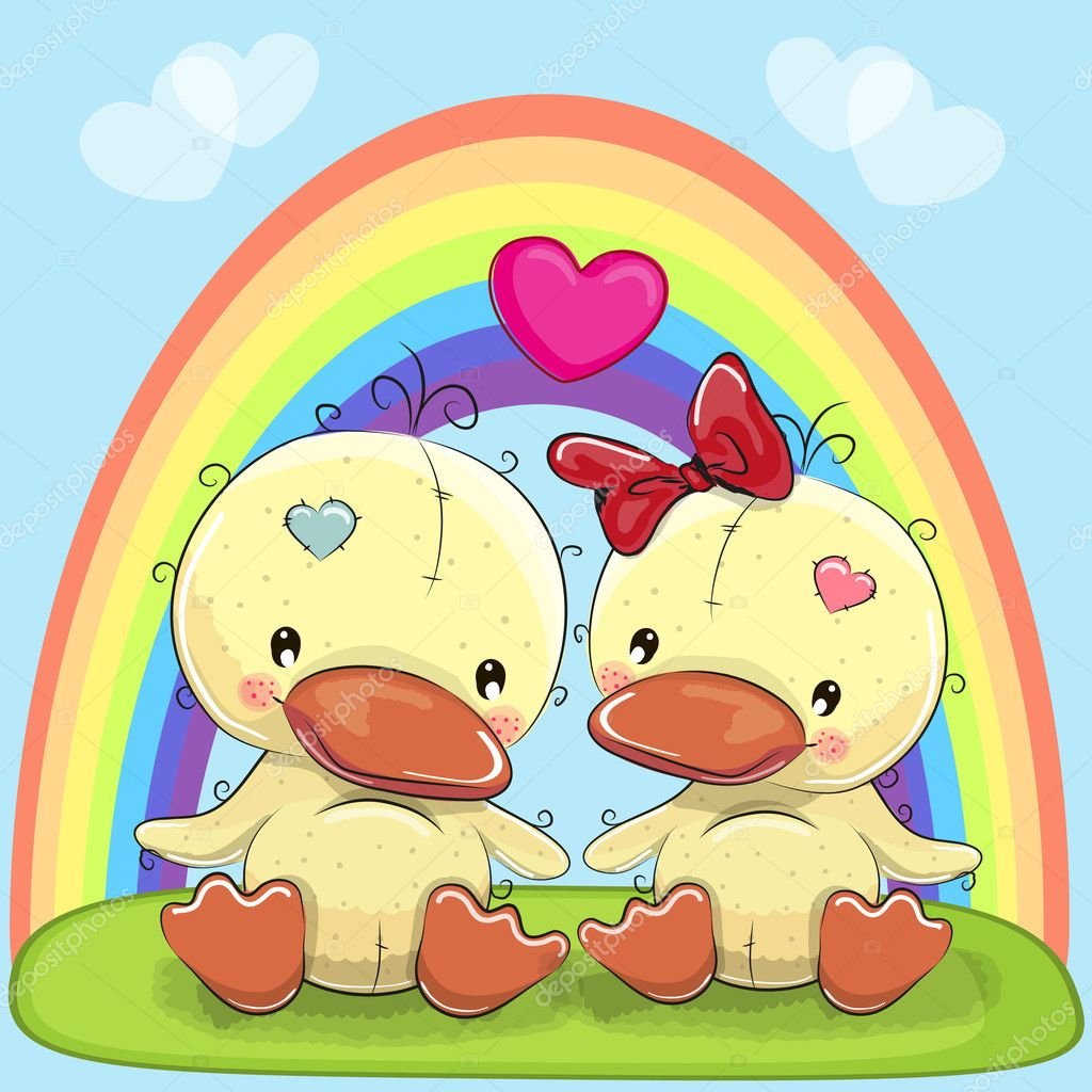 Valentine card with Lovers Ducks