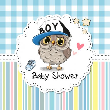 Baby Shower Greeting Card with cute Cartoon Owl stock vector