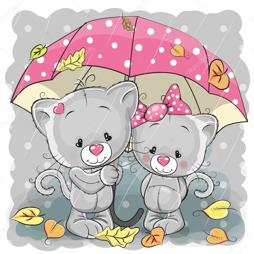 Deux Chatons De Dessin Anime Mignon Avec Parapluie Image