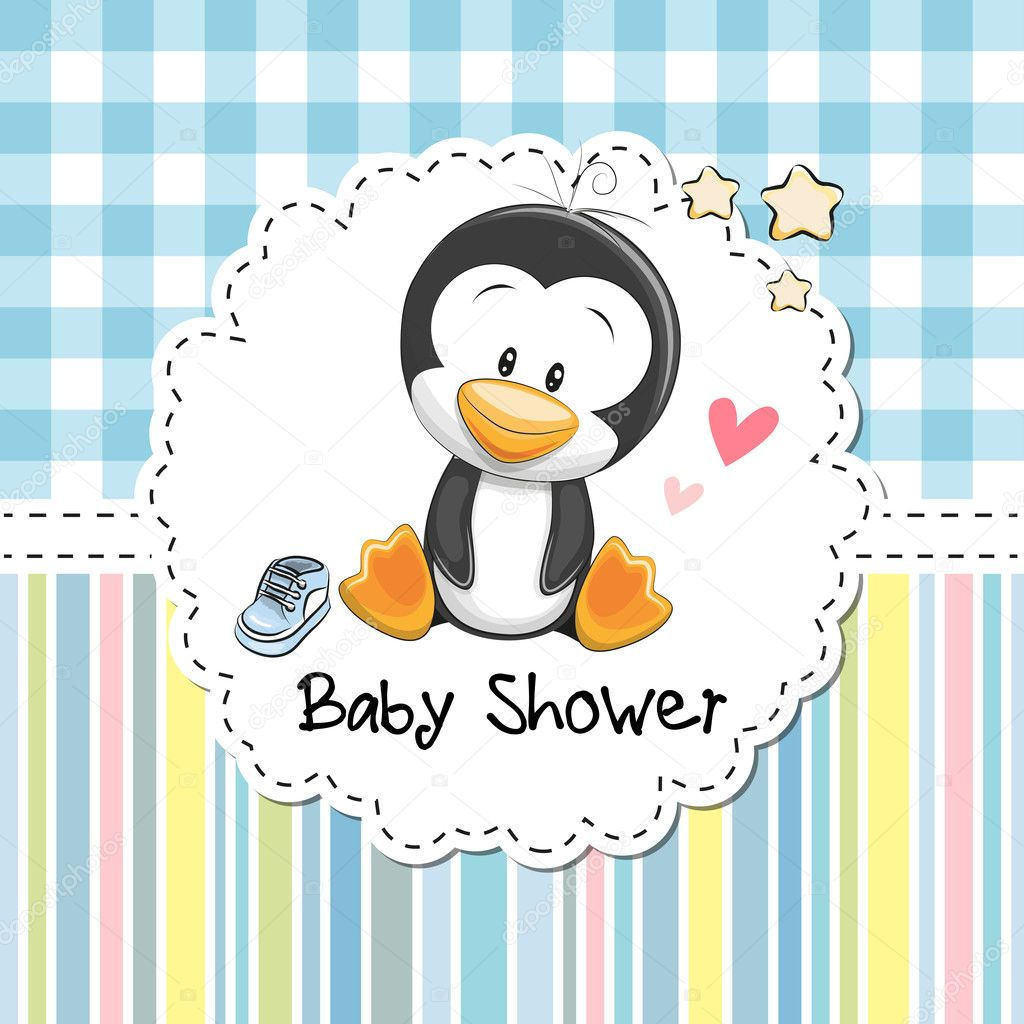 Baby shower greeting card with penguin stock vector reginast777 baby shower greeting card with cute cartoon penguin boy vector by reginast777 m4hsunfo