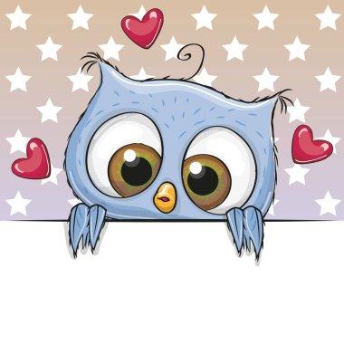 Cute Cartoon Owl Girl is holding a placard