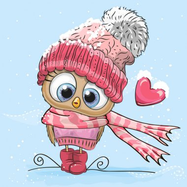 Cute Cartoon Owl in a hat and scarf clip art vector