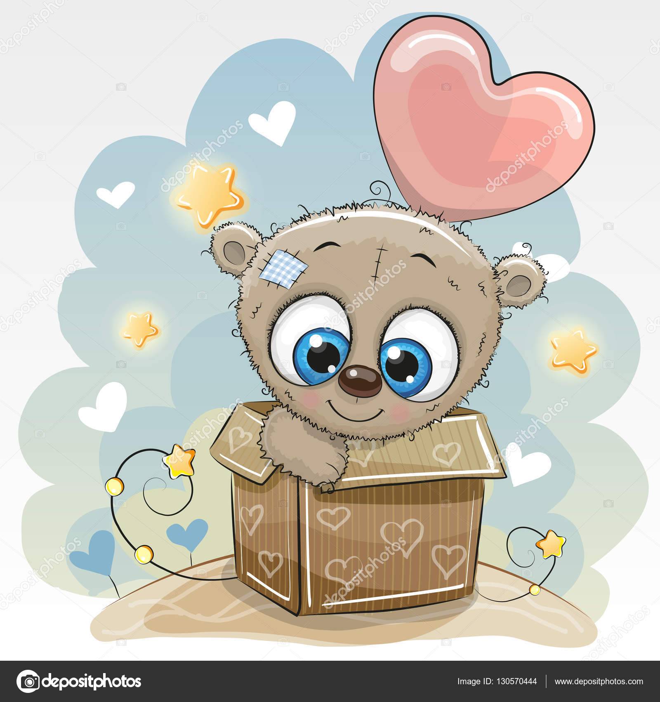 Birthday Card With A Cute Teddy Bear And Balloon Vector By