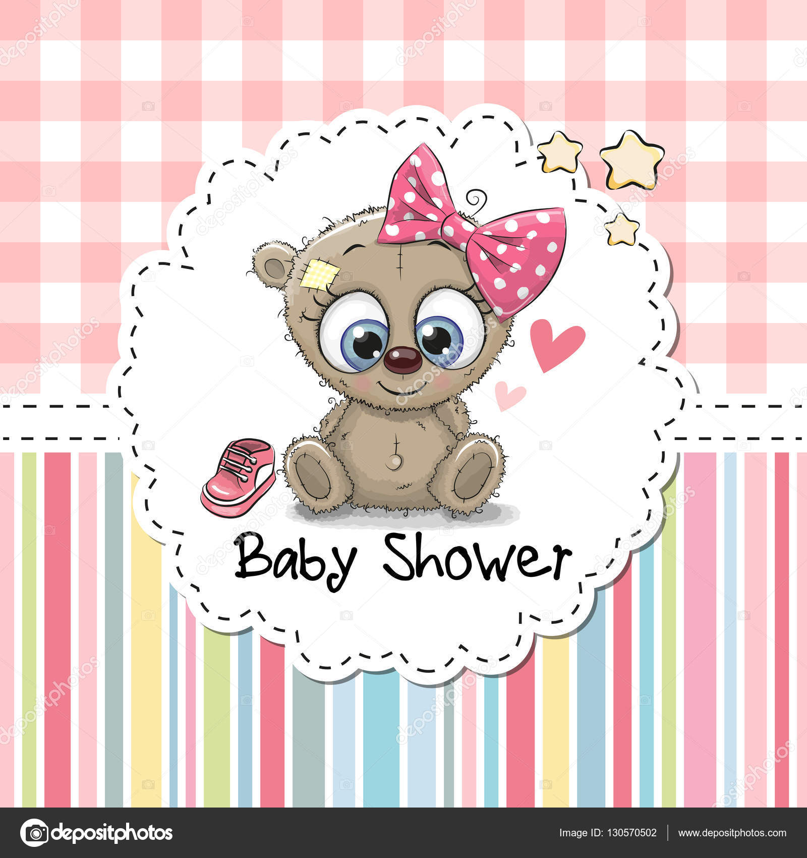 Baby shower greeting card with bear stock vector reginast777 baby shower greeting card with cute cartoon teddy bear girl vector by reginast777 m4hsunfo