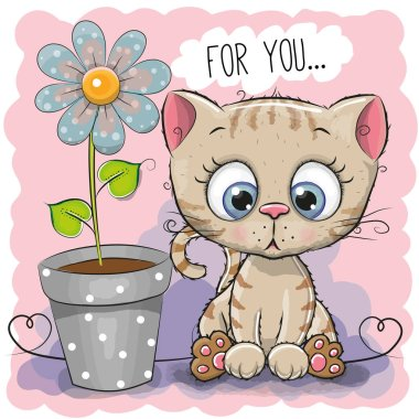 Greeting card Cat with flower