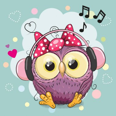 Cute cartoon Owl Girl with headphones and hearts clip art vector