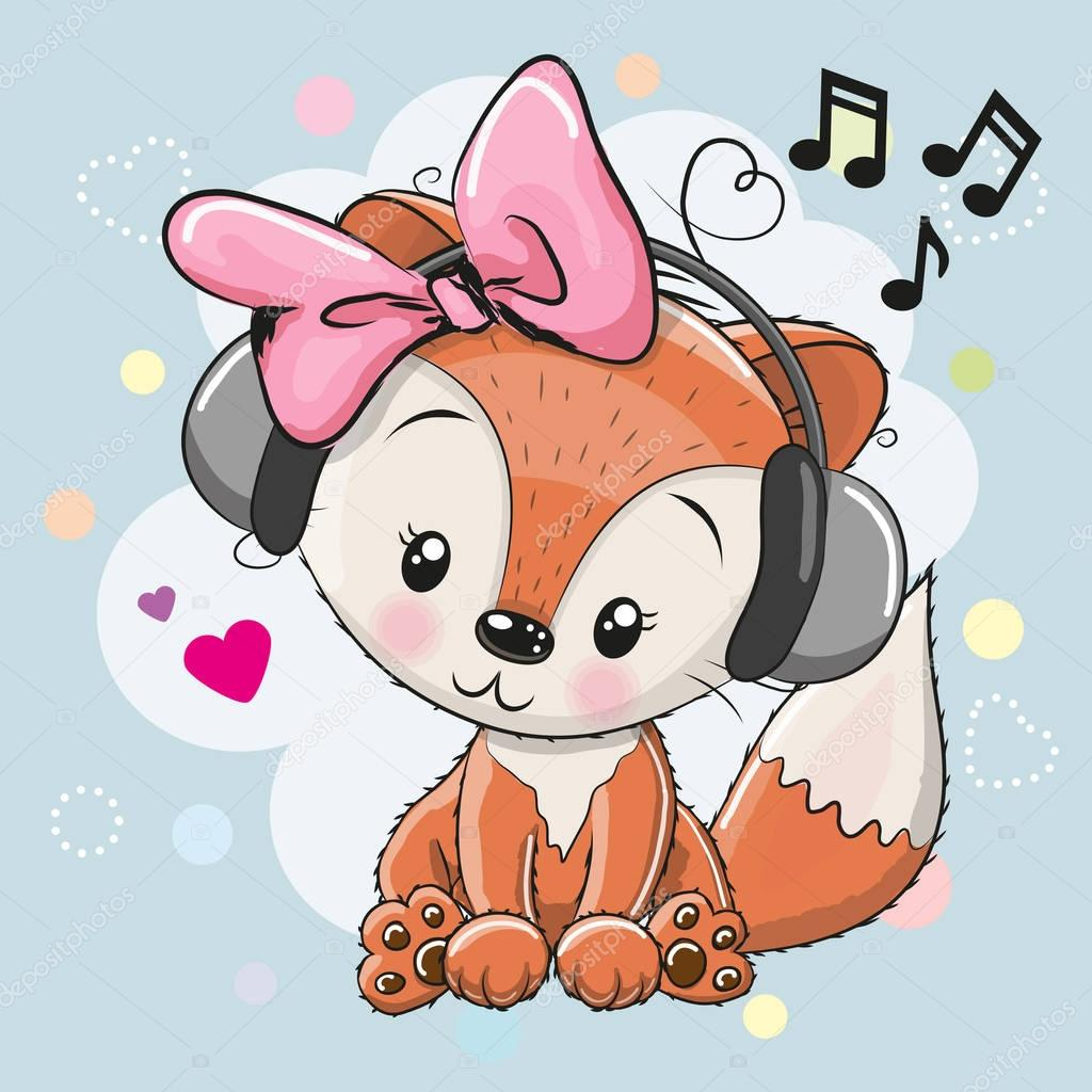 Fox with headphones and hearts
