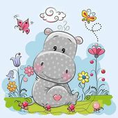 Photo Cute Cartoon Hippo
