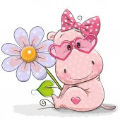 Photo Greeting card Hippo with flower
