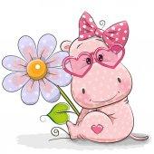 Fotografia Ippopotamo di cartolina dauguri con il fiore