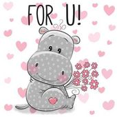 Photo Valentine card Cute Cartoon Hippo with flowers