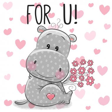 Valentine card Cute Cartoon Hippo with flowers
