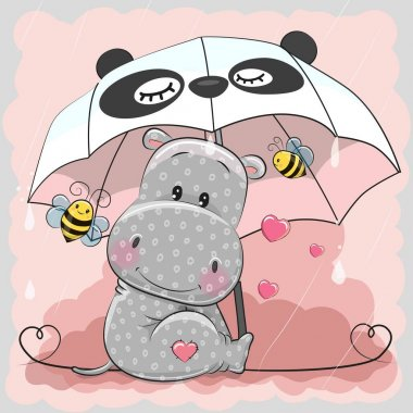 Cute Hippo with umbrella