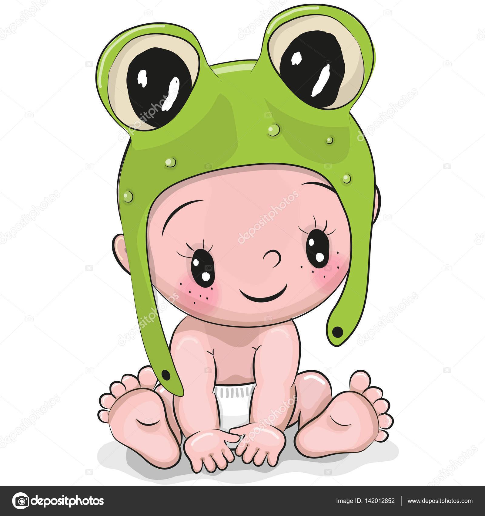 menino bonito do beb de desenho animado em um chapu de sapo vetores de stock