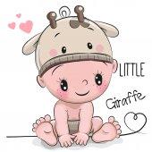 Fotografia Ragazzo sveglio del bambino del fumetto in un cappello di giraffa