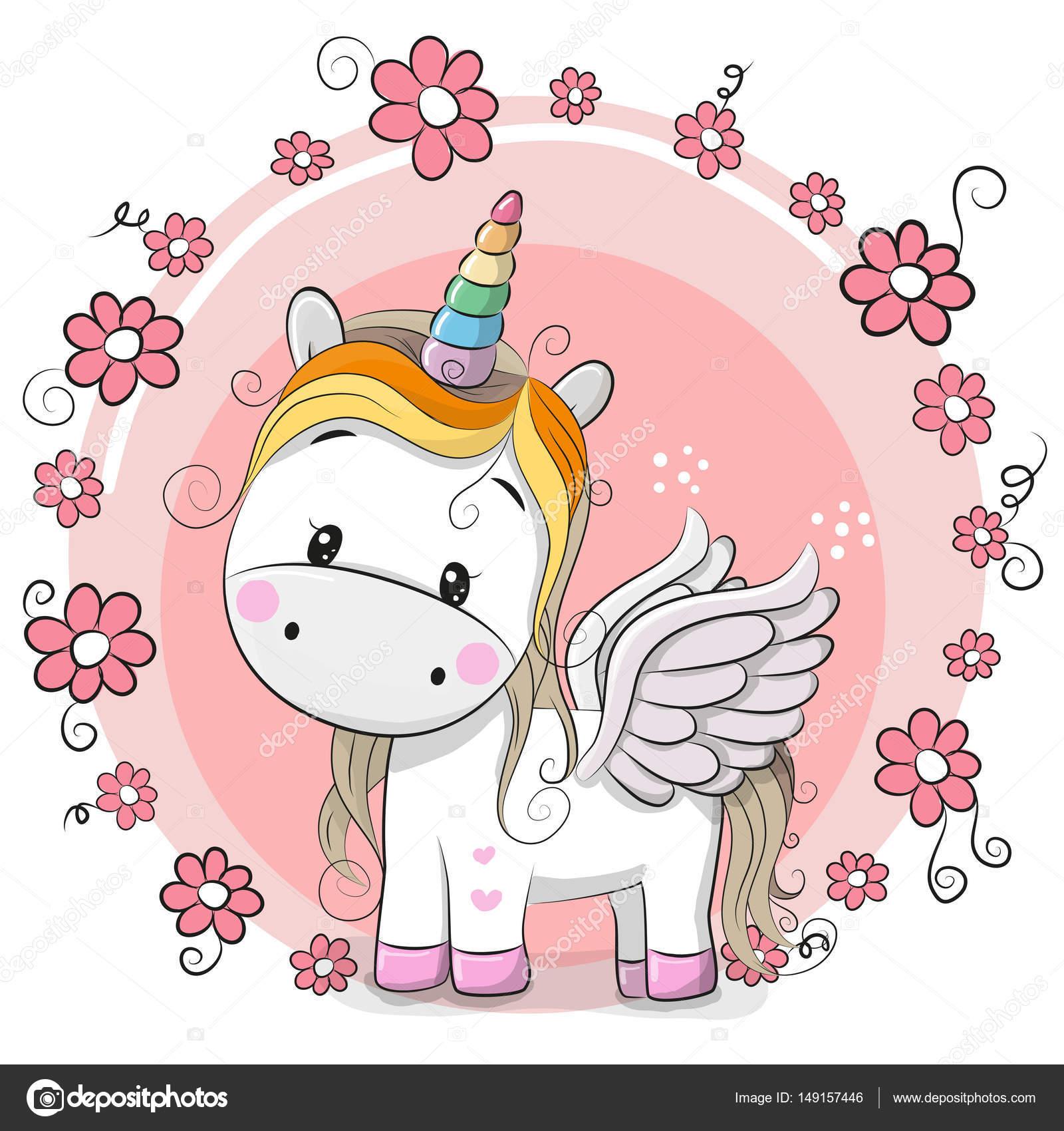 Stock Illustration Cute Cartoon Unicorn