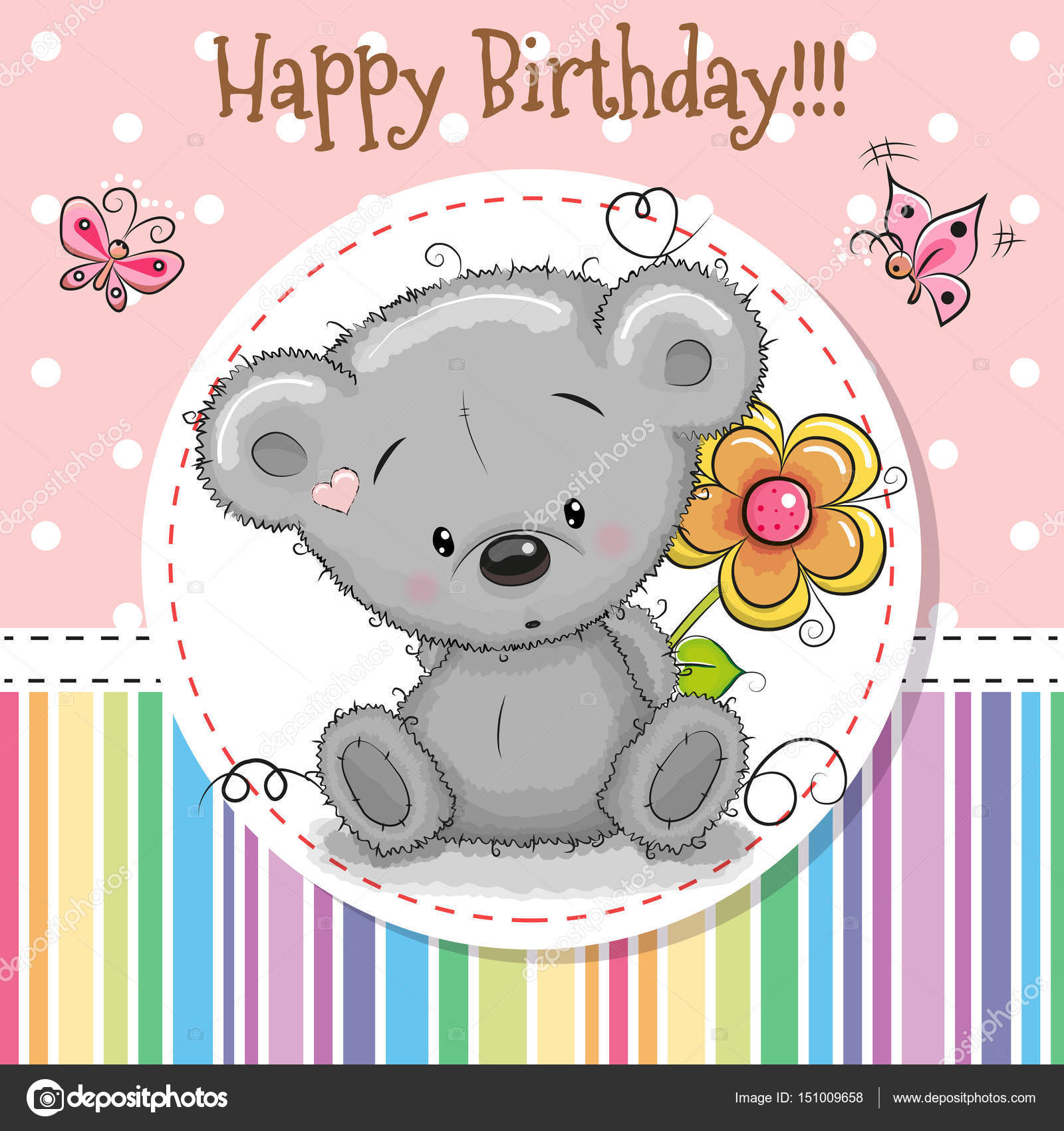 Greeting Card Cute Teddy Bear Stock Vector C Reginast777 151009658