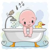 Fotografia ragazzo in bagno