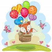 Fotografie niedlicher Cartoon Fuchs mit Luftballons