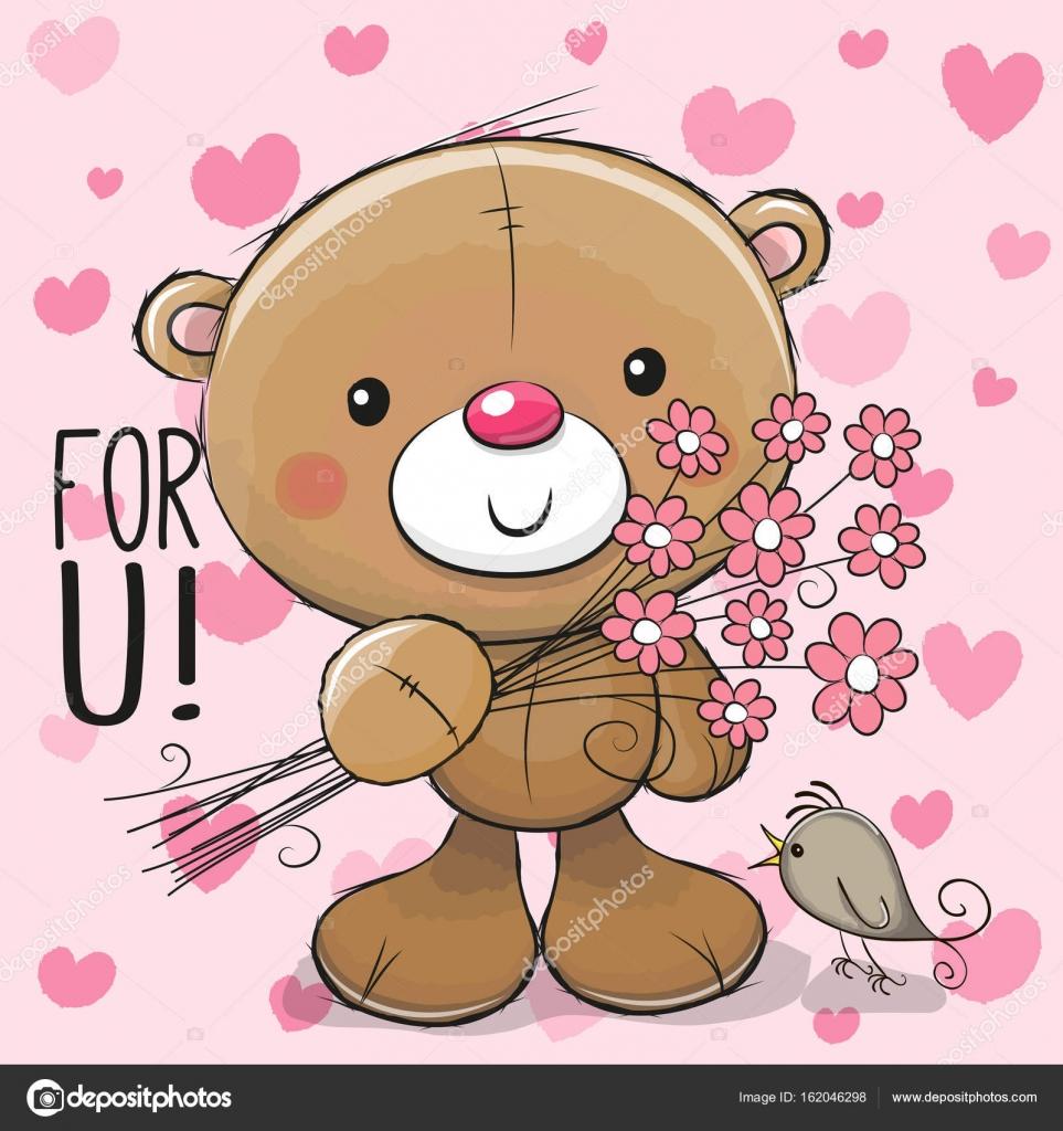 Lindo oso de peluche de dibujos animados con una flor — Vector de ...