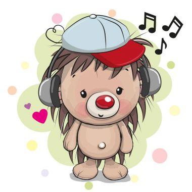 Cute cartoon Hedgehog with headphones