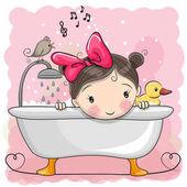 Fotografia ragazza in bagno