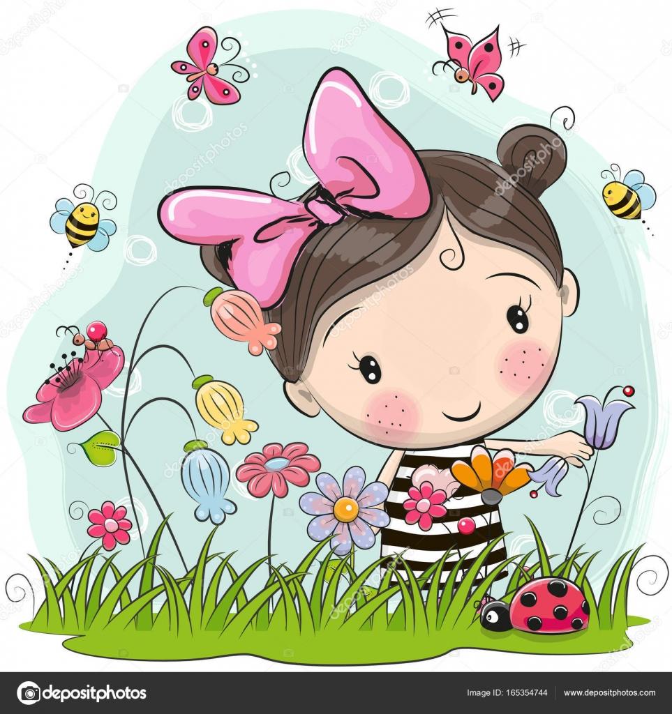 cute cartoon girl on a meadow — stock vector © reginast777 #165354744