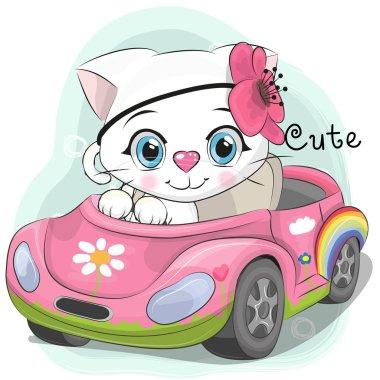 """Картина, постер, плакат, фотообои """"Милый котенок девочка идет на автомобиле"""", артикул 165354698"""