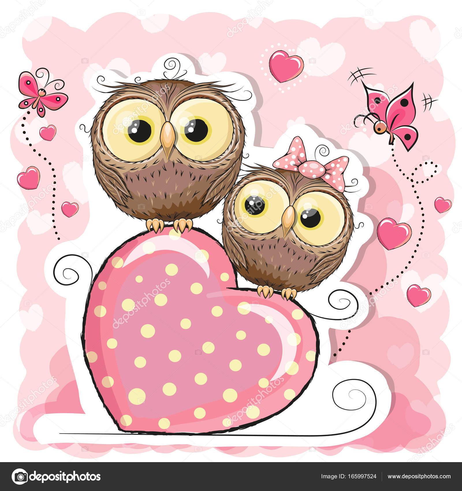 Dos Buhos De Dibujos Animados Lindo Y Corazón Vector De Stock