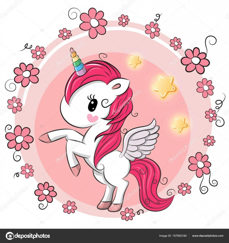 Dibujos Animados De Flores Lindas Lindo Unicornio De Dibujos