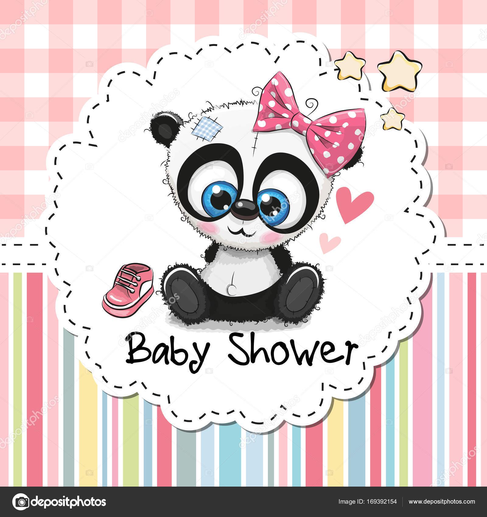 Baby Shower Greeting Card With Cartoon Panda Girl Stock Vector