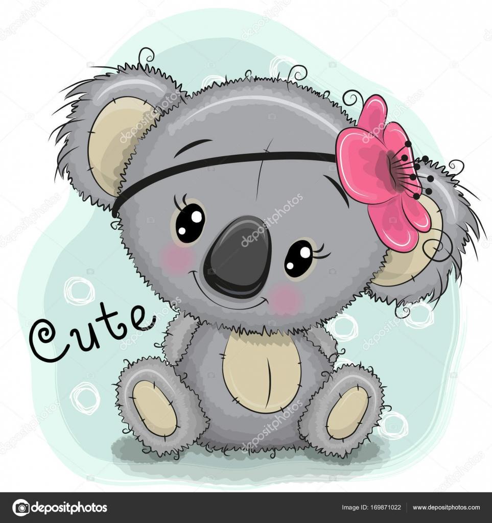 Linda chica Koala sobre un fondo azul — Vector de stock ...