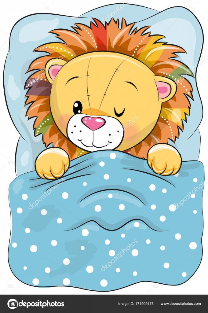 Cartoon Schlafen Lowen In Einem Bett Stockvektor C Reginast777