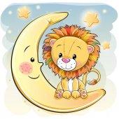 Cute Cartoon lion on the moon