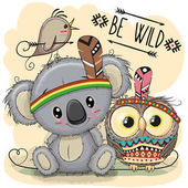Fotografie Cute Cartoon tribal Koala and owl