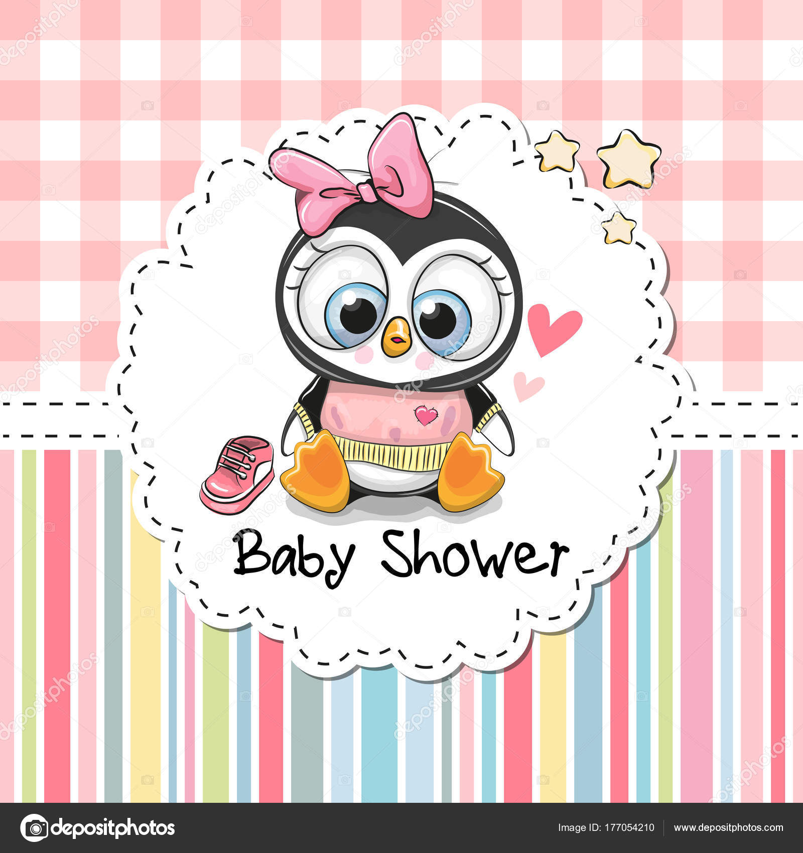 Baby Shower Greeting Card With Cute Penguin Image Vectorielle