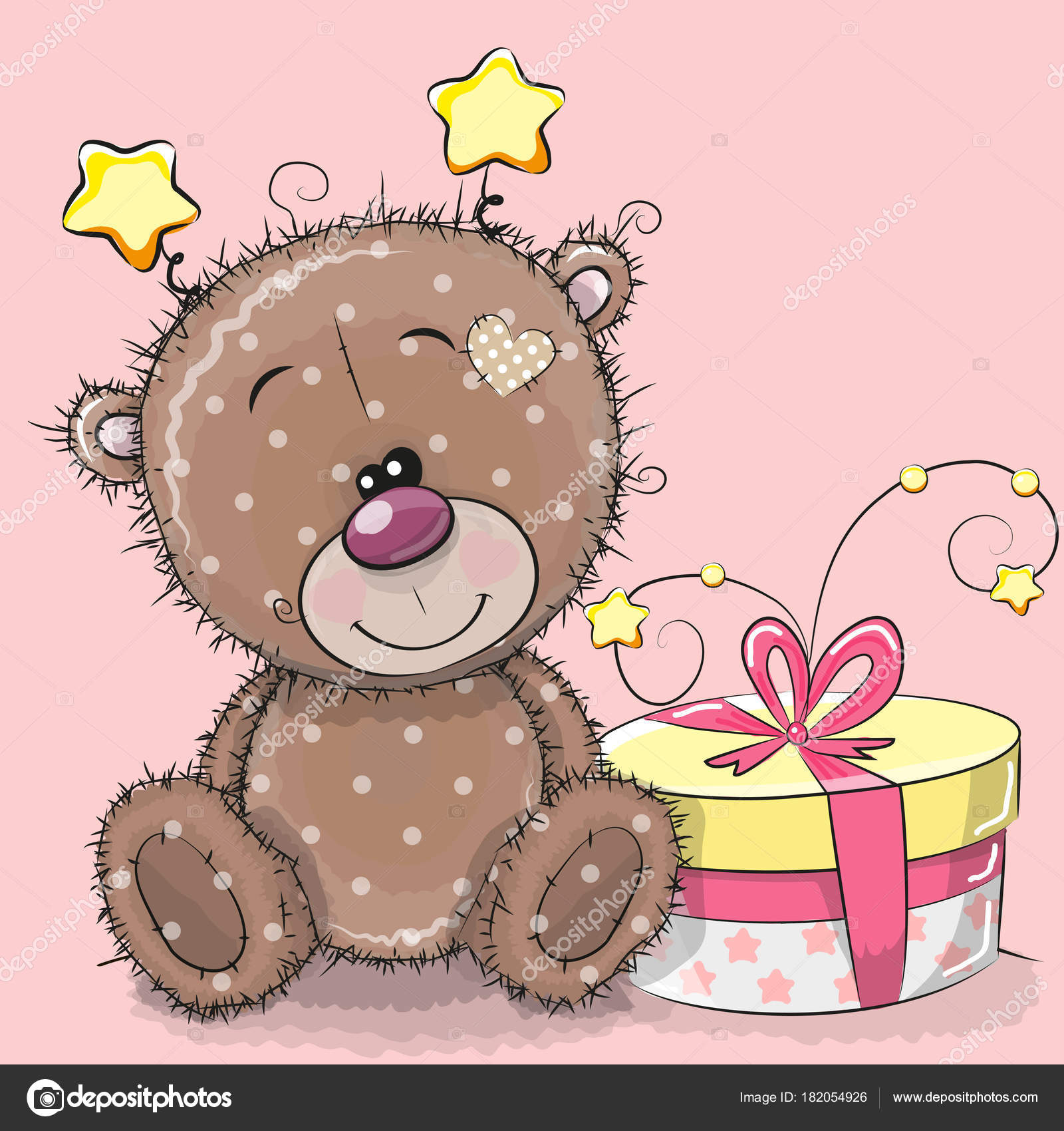 Greeting Card Cute Teddy Bear With Gift Stock Vector C Reginast777