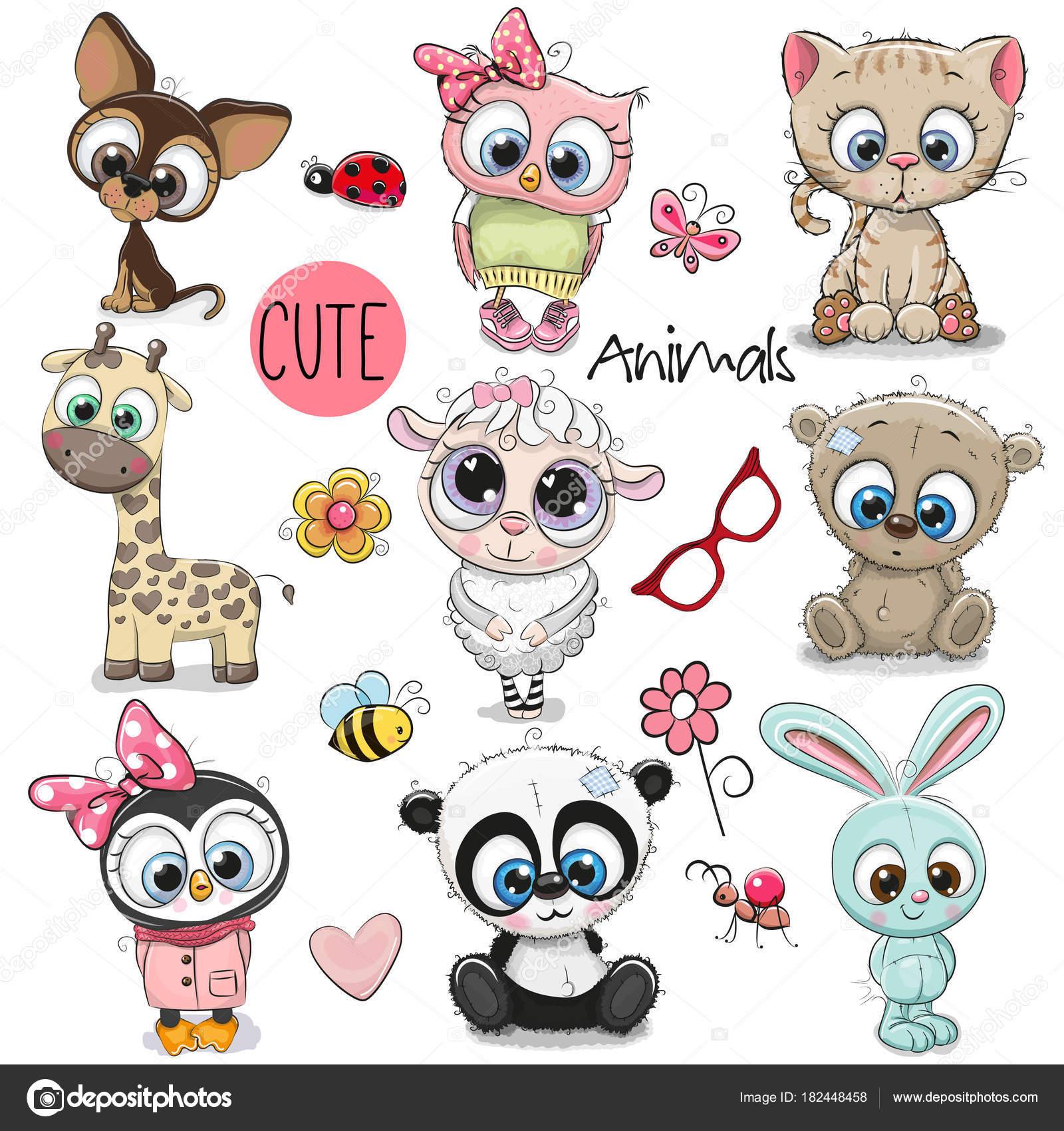 Dessin D Animaux Mignon ensemble d'animaux de dessin animé mignon — image vectorielle