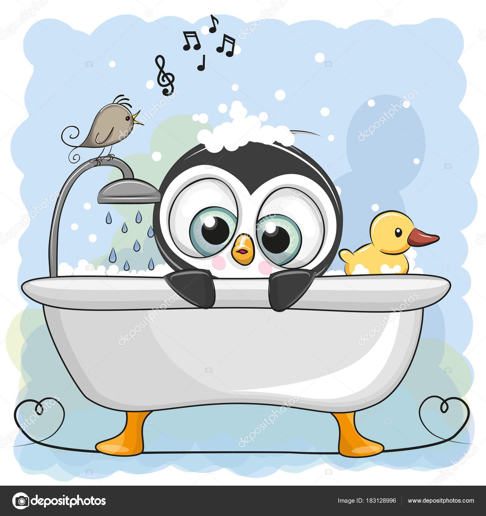 Niedliche cartoon pinguin im badezimmer stockvektor reginast777 183128996 - Badezimmer comic ...