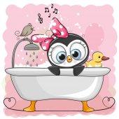 Fotografia Ragazza del pinguino sveglio del fumetto nel bagno