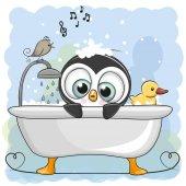 Fotografia Simpatico cartone animato Penguin in bagno