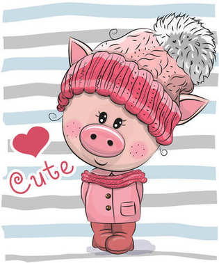 Cute Cartoon Pig girl in a hat and coat