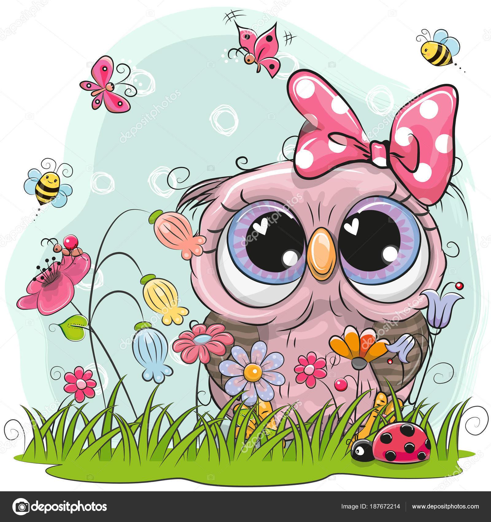 Dibujos Ilustraciones De Mariposas Y Flores Búho Lindo Con Flores