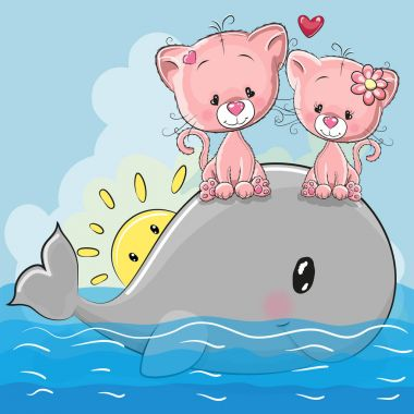 Cute Cartoon Kittens are sitting on the whale
